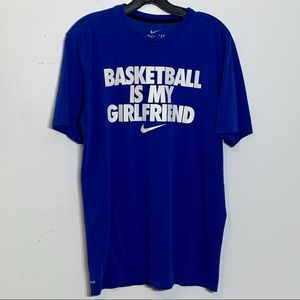 EUC Nike Basketballl is my Girlfriend blue T-shirt